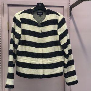 Splendid navy blue&white striped sweater blazer